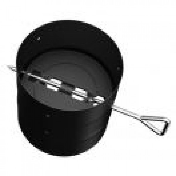 SINGLE WALL PIPE SECTION WITH DAMPER BLACK - 6''Ø