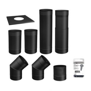6'' BLACK PIPE KIT - TO THE WALL