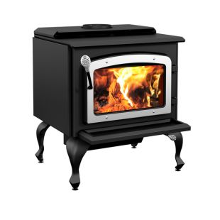 DROLET - ESCAPE 1800 WOOD STOVE ON LEGS WITH BRUSHED NICKEL DOOR
