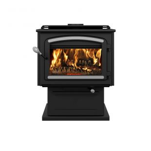 DROLET - ESCAPE 2100 WOOD STOVE WITH BRUSHED NICKEL TRIMS