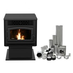 "DROLET - ECO-55 PELLET STOVE WITH 4"" BASEMENT VENTING KIT"