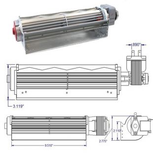 LOW PROFILE TANGENTIAL BLOWER 115V-60hZ-30W- 110 CFM