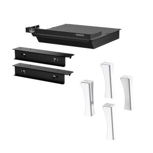 BRUSHED NICKEL PLATED CAST IRON STRUCTURAL LEG KIT WITH ASH DRAWER